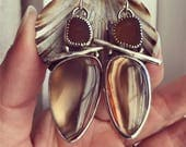 Sea Glass And Montana Agate Sterling Silver Hand Forged Earrings