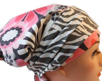 Scrub Hat Cap Chemo Bad Hair Day Hat  European BOHO Banded Pixie Tie Back Pink Flower Shower Gray Zebra Band 2nd Item Ships FREE
