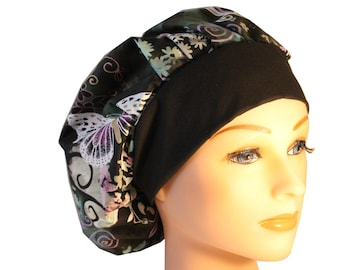 Scrub Cap Surgical Hat Chef    Hat Bouffant Purple Butterflies Lilac Teal Black Band  - 2nd Item Ships FREE