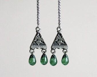 Silver Green Boho Earrings Chandelier Earrings Long Earrings Hippie Earrings Chandelier Silver Drop Earring Green Boho Earring Chain Earring