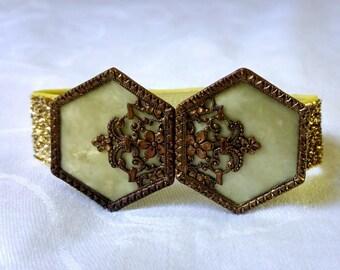 Gold & Marbled Ivory Wrist Belt