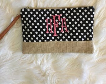 Monogram Wristlet/ Wristlet with Monogram/Purse/Burlap Detail