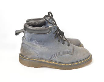 Dr Martens dark blue distressed leather lace up boots 90s