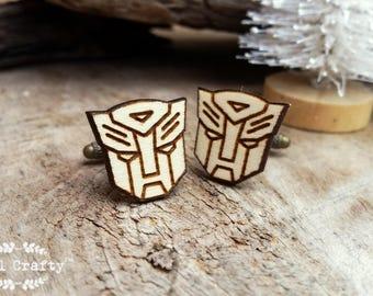 Transformer Wooden Cufflinks Superhero Robot Mask Dad Grooms Best man Groomsman Rustic Wedding Birthday Gift Cuff links
