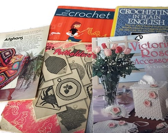5 Vintage and Contemporary Crochet Pattern Books - 1940's - 2000's