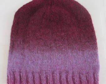 Hand Knitted Beanie Hat. 100% Wool. Adult Size. Ready to Ship.