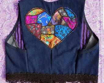 Denim patchwork heart vest