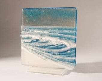 """Blue Seaside Upstand-FREE UK SHIPPING-The Small Wave-fused glass windowsill panel 12cm (5"""") square on 1 foot"""