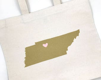Set of 12 Tennessee Custom State Screen Printed Canvas Bags For Wedding Guests