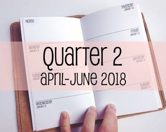 Traveler's Notebook PERSONAL Size Week on Two Pages {Q2 | April-June 2018} #700-12