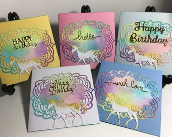 Box of 5 unicorn themed cards