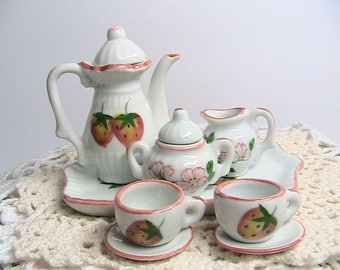 Miniature Tea Set, Strawberries on White,  Mini Tea Set on Tray
