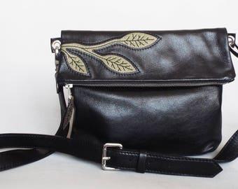 Crossbody bag leather black. Foldover cross body bag. Black leather purse. Black leather bag. Applique leather black olive green bag.
