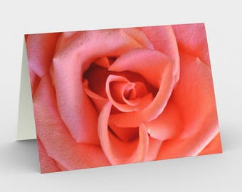 Coral Flower Card, Blank Note cards, Flower Note Cards, Greeting Cards, Three Note Cards, 5x7 Cards, Nature Blank Card, All Occasion Cards