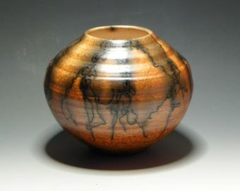 Orange/Horsehair Raku/OOAK/Handmade/Ceramic/Vase
