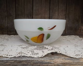 Vintage Fire King Painted Fruit Bowl/Milk Glass Bowl/Ovenproof/Home and Living/Kitchen and Dining/Dining and Serving