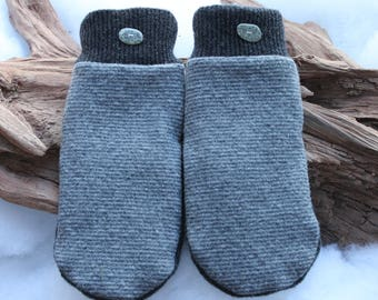 Wool sweater mittens lined with fleece with Lake Superior rock buttons in gray, Valentines,