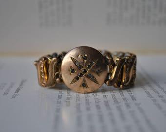 Antique Gold Filled Stretch Bracelet - 1900s Gold Filled Expansion Bracelet, Clear Paste Stones.