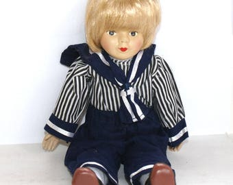 Vintage Collectible Doll - Sailor doll Boy, porcelain doll