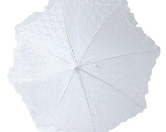 "32"" Lace baby or bridal shower umbrella white parasol"