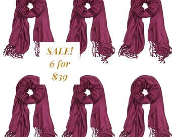 SALE! Set of 6 Wine Wedding Pashmina, Bridesmaid Gift, Wedding Favor, Wraps