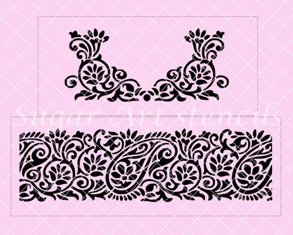 Mehndi Cake Stencil : Items similar to cake stencil paisley mehndi henna wedding