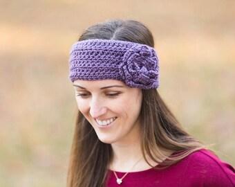 Crochet Earwarmer - winter accessory- crochet headband - women's accessories - crochet flower - crochet earwarmer - flower ear warmer