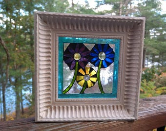 Mosaic Flowers in Up-cycled Re-Purposed Frame, Stained Glass Mosaic, OOAK Christmas Gift.