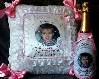 bottle apron personalized with photo for girl or boy baptism