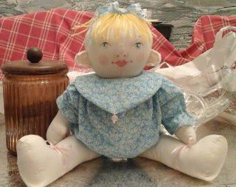 "handmade cloth rag art baby doll - 12"""