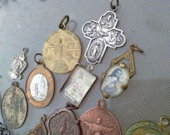 18p French antique large lot religious reliquary medal silver bronze virgin mary Lourdes sacred heart cross crucifix Gothic photo miniature
