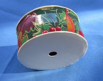 Vintage Horizon Fabrics Colorful Floral Fabric Ribbon Partial Roll