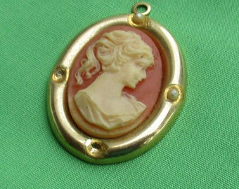 Vintage Faux Cameo Oval Shaped Pendant Missing Beads Repair Repurpose