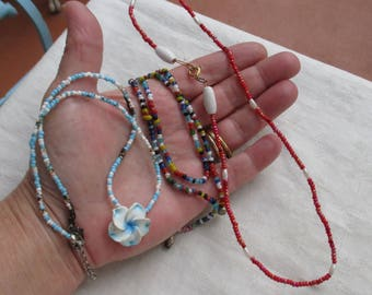Lot Of Vintage Colorful Beaded Necklaces Blue Flower TLC Stains Restring Repurpose