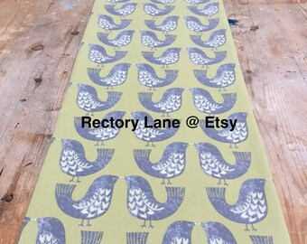 Table Runner, Scandi table runner, green and grey bird table runner, scandinavian fabric