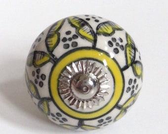 Porcelain Drawer Pull,  Cabinet Knob, Cabinet Pull, Boho, Indie,  Furniture Hardware, Refinish Parts, Yellow Flower Design, L3