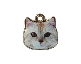 8 Charms CAT Animal Gold Plated White 13mm 1/2 Inch
