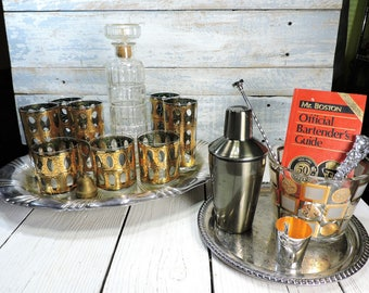 Culver Barware Set Culver Cocktail Glasses Vintage Pisa Design Mid-Century Barware Glasses Liquor Decanter Ice Bucket Shaker Jigger Bar Book