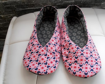 KIMONO SLIPPERS women T39 flowers red and blue