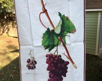 Vintage Grapes Botanical Print Tea Towel