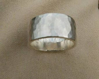 "Solid ring or wedding ring hammered Silver ""darling"""