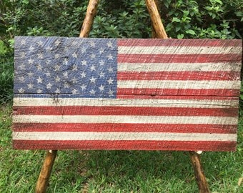 Salvaged barn wood American flag, 39x20 original filk art flag, distressed, rustic, antiqued