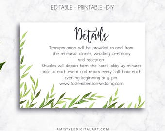 Wedding Details Card, Greenery, Editable PDF, Direction Card, Wedding Info Card, Information Card, Wedding Details,Accommodation Cards