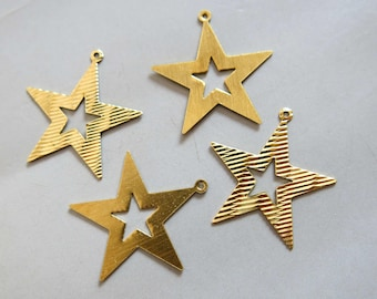 50pcs Raw Brass Star Charms, Pendants 30mm - F812