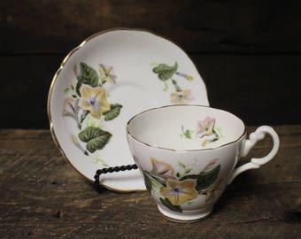 Vintage Royal Ascot Bone China Tea Cup and Saucer Set