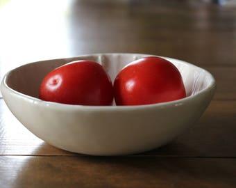 Ceramic bowl matt white, handmade