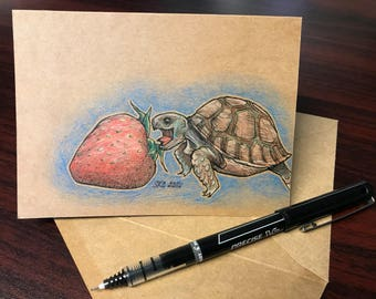 Hungry Turtle - Hand Drawn Greeting Card