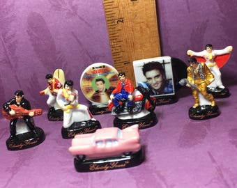 Tiny ELVIS PRESLEY collection Gold Suit Records Record Albums- French Feve Feves Figurines Miniatures OO45