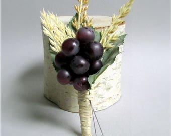 "Rustic Purple Grape, Leaf, and Wheat Boutonnieres, Raffia Stem Wrap, Summer, Fall, or Vineyard Wedding, ""Sonoma"""