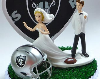 Wedding Cake Topper Oakland Raiders Themed Football Runaway Bride Sports Fans Groom's Cake Top Humorous Funny w/Bridal Garter Reception Gift